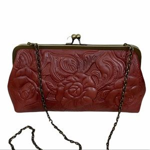 Patricia Nash Embossed Leather Potenaz Bronze Kiss-lock Clutch
